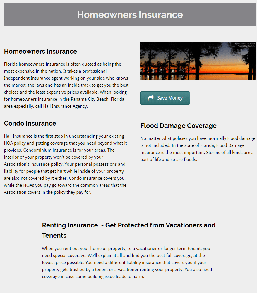 homeowners insurance writing