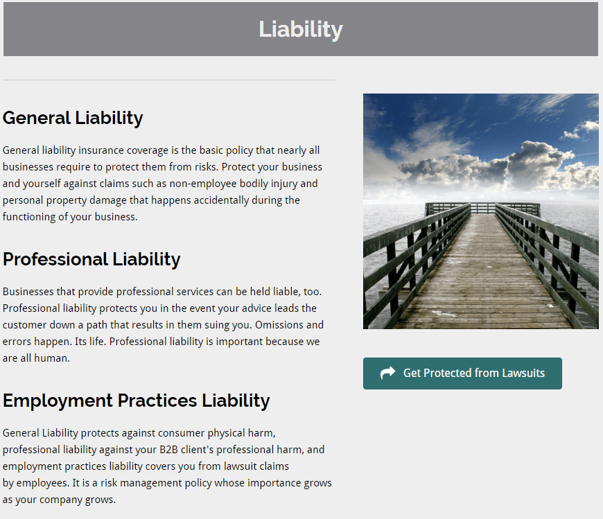 liability page by content writer example