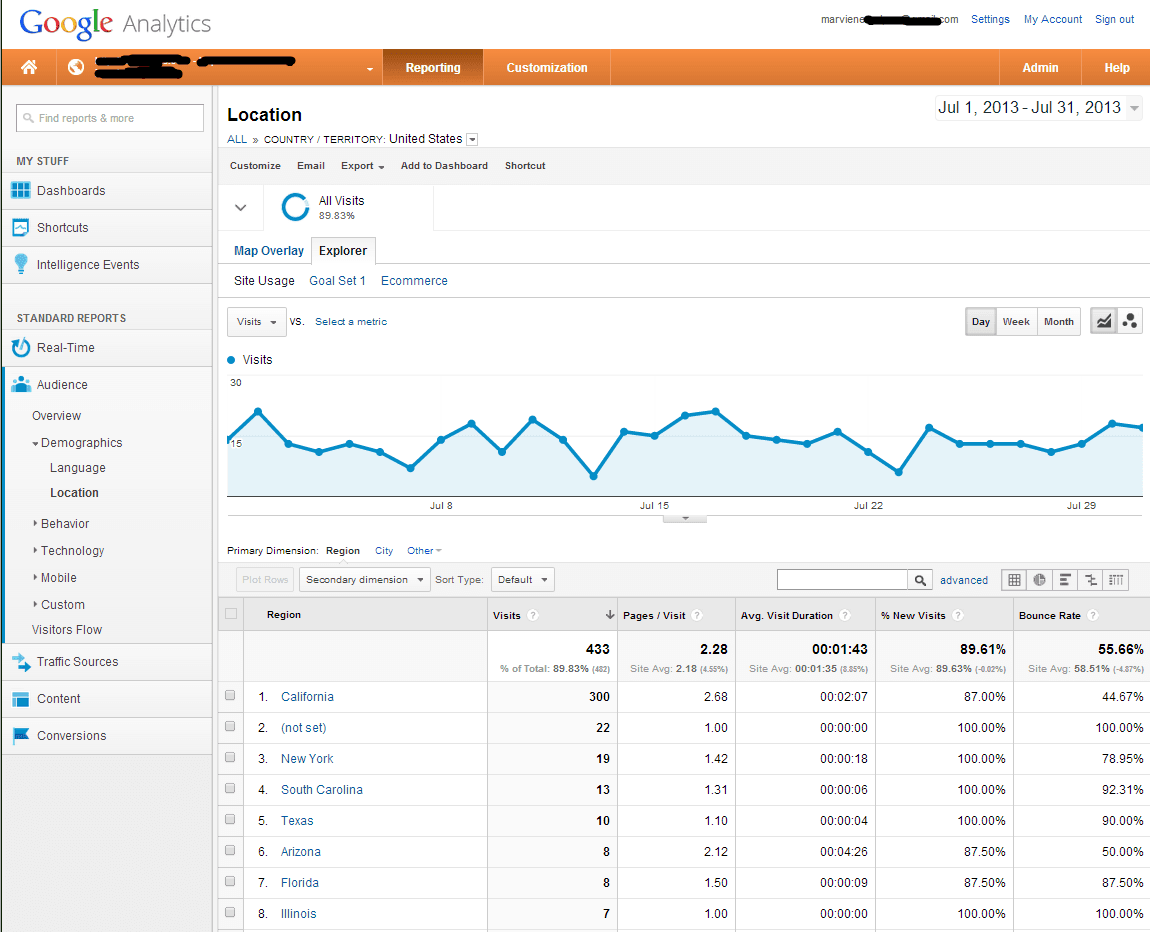 July local company google analytic screen shot
