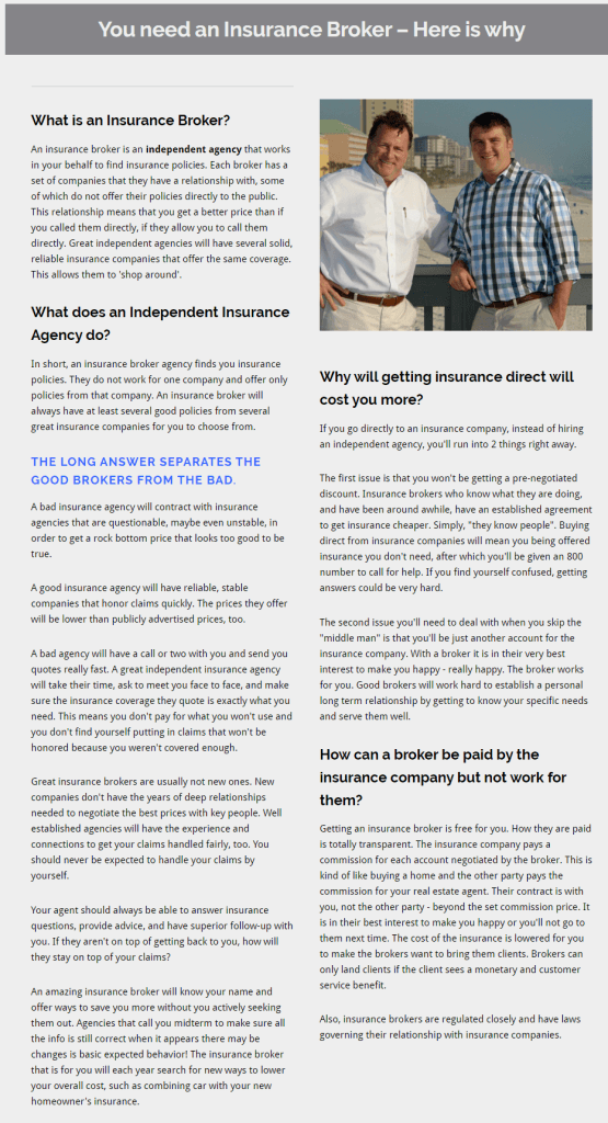blog SEO writing example for insurance