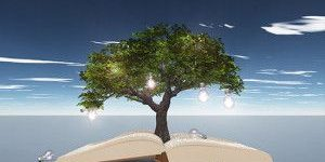 lightbulb tree growing from book